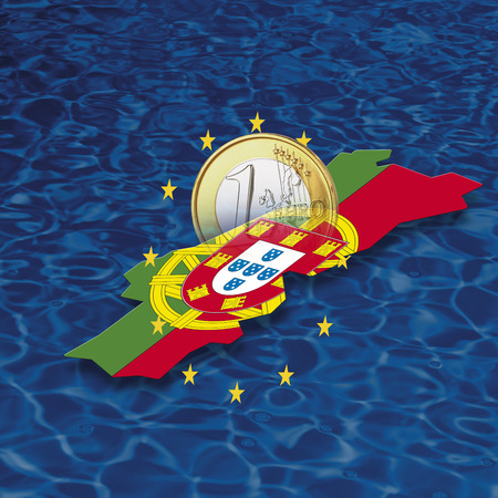 Contour And Flag Of Portugal With Euro Coin And Stars LANG_EVOIMAGES