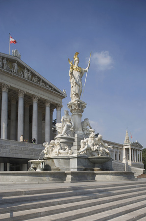 Austria,Vienna,Parliament Building With Statues Of Pallas Athene