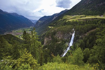 Austria,Tyrol,ÖTztal,View Of Stuibenfall From Mountains