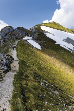 Germany,Bavaria,Karwendelspitze,Hiker Walking Through Karwendel Mountains