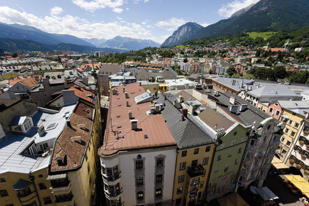 Austria,Tyrol,Innsbruck,View Of Cityscape With Mountains In Background