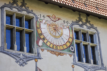 Germany,Bavaria,Allgaeu,F��Ssen,View Of Building Exterior With Painted Sun Dial