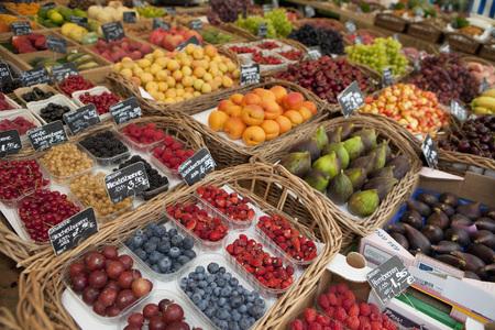 street shot: Germany,Munich,Variety Of Fruits In Basket At Market LANG_EVOIMAGES