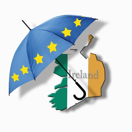 European Flag Umbrella On Ireland Flag Against White Background