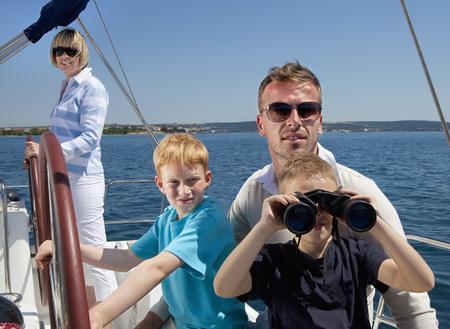 Croatia,Zadar,Family On Sailboat
