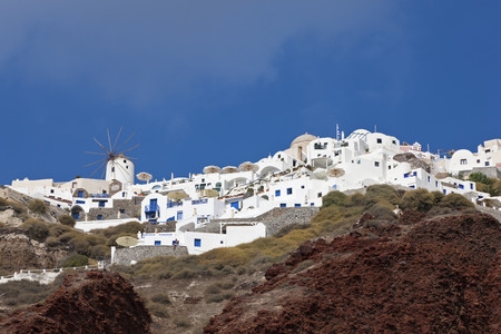 Greece,Thira,Cyclades,Santorini,View Of Village Of Oia