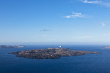 Europe,Greece,Thira,Cyclades,Santorini,View Of Volcanic Island Of Nea Kameni LANG_EVOIMAGES
