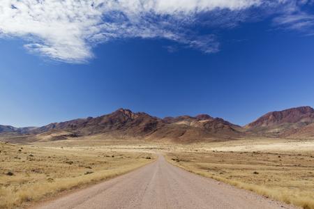 Africa,Namibia,Namib Desert,View Of Gravelroad Through Namib Rand
