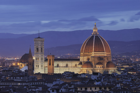 Italy,Tuscany,Florence,Palazzo Vecchio,View Of Santa Maria Del Fiore The Dome Of Florence At Dusk