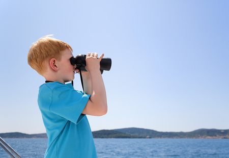 Croatia,Zadar,Boy Looking Through An Binocular