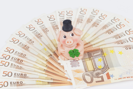 Marzipan Pig On Fan Shape Euro Notes,Close Up LANG_EVOIMAGES