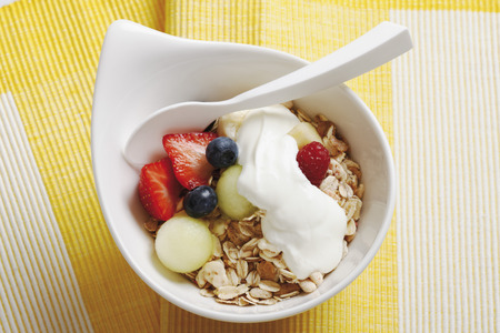 Bowl Of Cereal And Fruits With Yoghurt