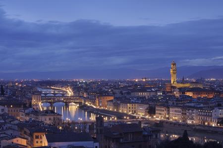 street shot: Tuscany,Florence,Palazzo Vecchio,View Of Bridges On Arno River