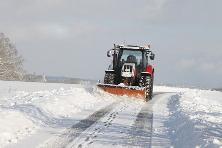 snowcovered: Germany,Tractor With Snow Plough