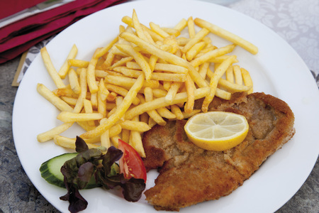 Schnitzel With Chips In Plate,Close Up LANG_EVOIMAGES