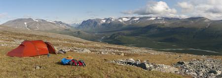 Sweden,Lapland,Sarek National Park,View Of Campsite At Vadvetj��Kka National Park LANG_EVOIMAGES