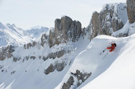 Austria,Kleinwalsertal,Man Skiing,Elevated View