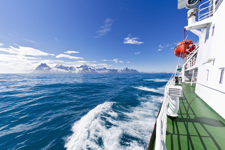 South Atlantic Ocean,United Kingdom,British Overseas Territories,South Georgia,Polar Star Icebreaker Cruise Ship With Lifeboat On Sea LANG_EVOIMAGES