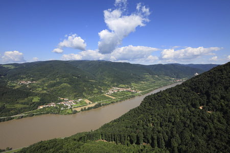 Austria,Lower Austria,View Of Mountains And Danube River