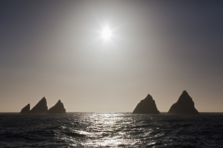 South Atlantic Ocean,United Kingdom,British Overseas Territories,South Georgia And The South Sandwich Islands,View Of Shag Rocks At Sunset