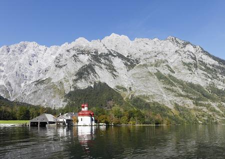 Germany,Bavaria,Upper Bavaria,Berchtesgaden National Park,View Of St. Bartholomae Church By Lake Konigssee