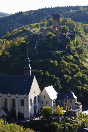 Europe,Germany,Rhineland-Palatinate,View Of Abbey Church And Castle Of Beilstein
