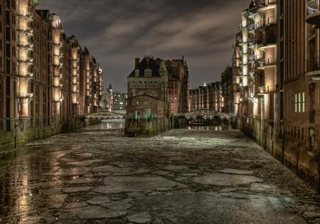 Germany,Hamburg,Historical Warehouse At Night