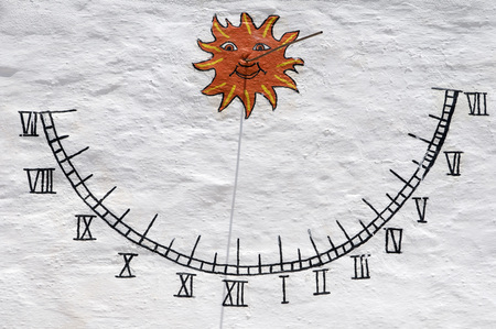 Spain,Balears,Menorca,View Of Sun Clock On Wall LANG_EVOIMAGES