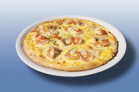Pizza With Cheese And Scampis,Close-Up