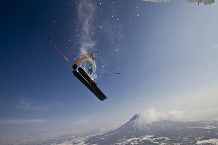 Japan,Hokkaido,Niseko,Man Skiing