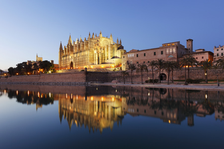 Spain,Balearic Islands,Majorca,Palma De Mallorca,Parc De Mar,Cathedral La Seu