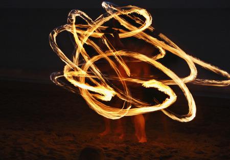 Spain,Canary Islands,La Gomera,La Playa,Valle Gran Rey,People Doing Torch Dance On Beach At Evening