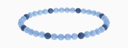 Bracelet Of Blue Beads Against White Background,Close Up
