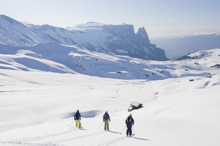 Italy,Trentino-Alto Adige,Alto Adige,Bolzano,Seiser Alm,Group Of People Skiing On Snowy Landscape