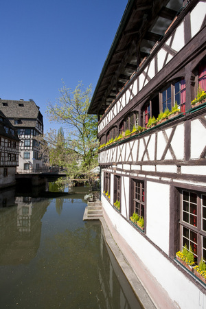 France,Alsace,Strasbourg,Petite-France,View Of Frame Houses Near LIll River