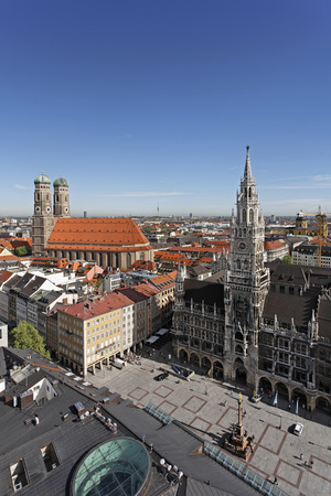Germany,Bavaria,Munich,Marienplatz,Cathedral Townhall,View From Steeple Of St. Peter