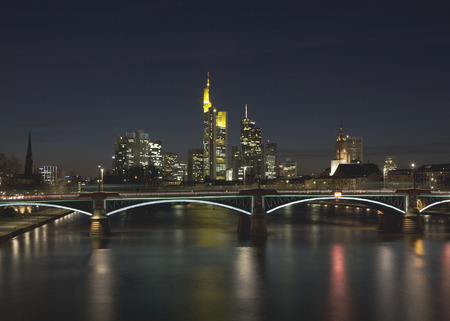 Germany,Frankfurt,View Of City Skyline At Night LANG_EVOIMAGES