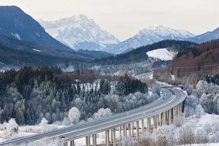 Germany,Bavaria,Zugspitze,View Of Autobahn Towards Wetterstein Mountains