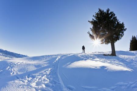 Germany,Bavaria,Blomberg,Man Hiking On Top Of Zwiesel Mountain
