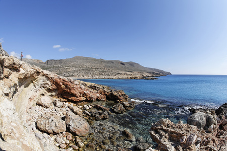 Greece,Crete,Skinias,View Of Bay With Rocks In Foreground