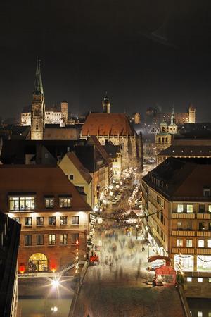 Germany,Bavaria,Franconia,Nuremberg,Hauptmarkt,View Of City With St. Sebaldus Church