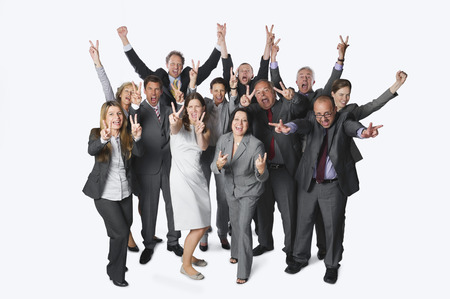 Large Group Of Business People With Victory Sign Against White Background LANG_EVOIMAGES