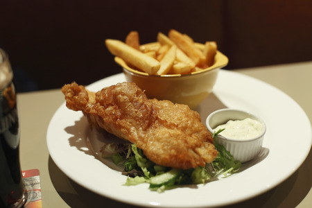 Republic Of Ireland,County Fingal,Skerries,Close Up Of Fish And Chips In Plate