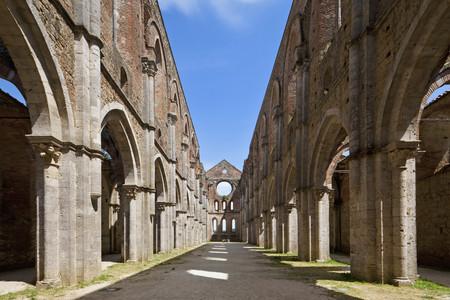 Italy,Tuscany,View Of Interior Of San Galgano Monastery Ruins