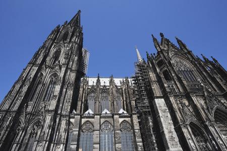 Alemania, colonia, vista, de, catedral de colonia, contra, cielo azul