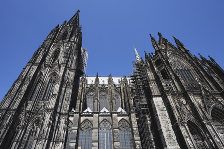 Germany,Cologne,View Of Cologne Cathedral Against Blue Sky