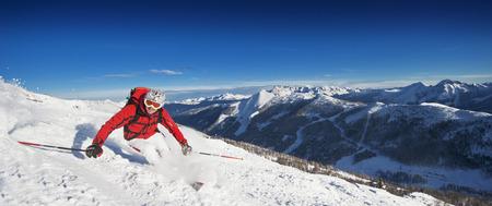 Austria,Salzburg Country,Altenmarkt-Zauchensee,Mid Adult Man Skiing On Ski Slope In Winter