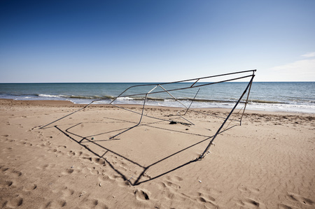 Turkey,Belek,View Of Broken Tent Frame On Beach