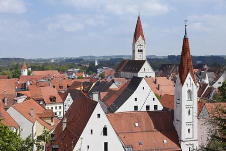 Germany,Bavaria,Swabia,Allgaeu,Kaufbeuren,View Of St. Martin Church And Abbey Church