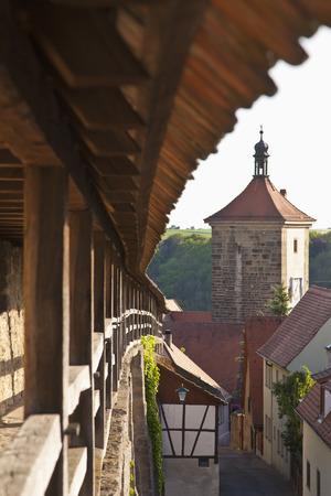 Germany,Bavaria,Franconia,Rothenburg Ob Der Tauber,View Of Siebersturm Town Gate With Parapet Wall LANG_EVOIMAGES